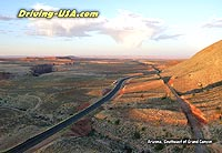 aerial view: road east of Grand Canyon