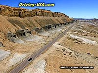 aerial view road in Utah