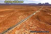 Aerial view along the road to Monument Valley