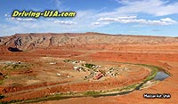 Aerial view above Mexican Hat